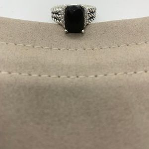 David Yurman Black Onyx Petite Wheaton Ring Size 8